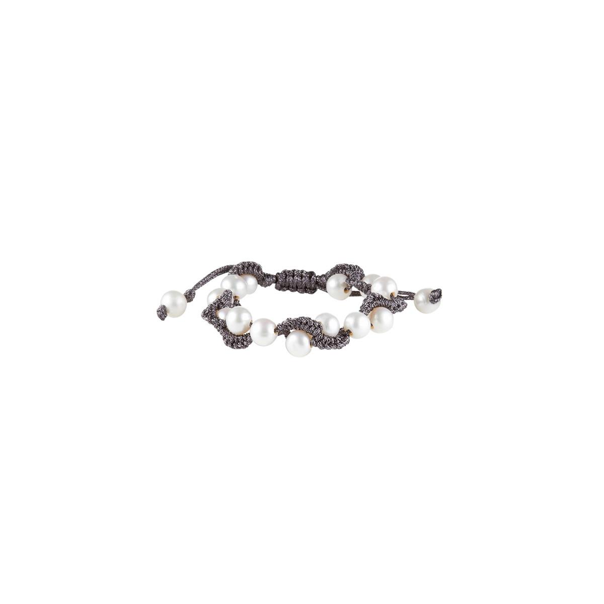 bracelet cordon et perle de culture blanche w06lrpa mes. Black Bedroom Furniture Sets. Home Design Ideas