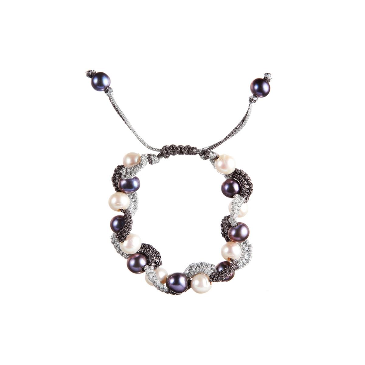 bracelet cordon et perle de culture multicolore wn06lrpa mes. Black Bedroom Furniture Sets. Home Design Ideas