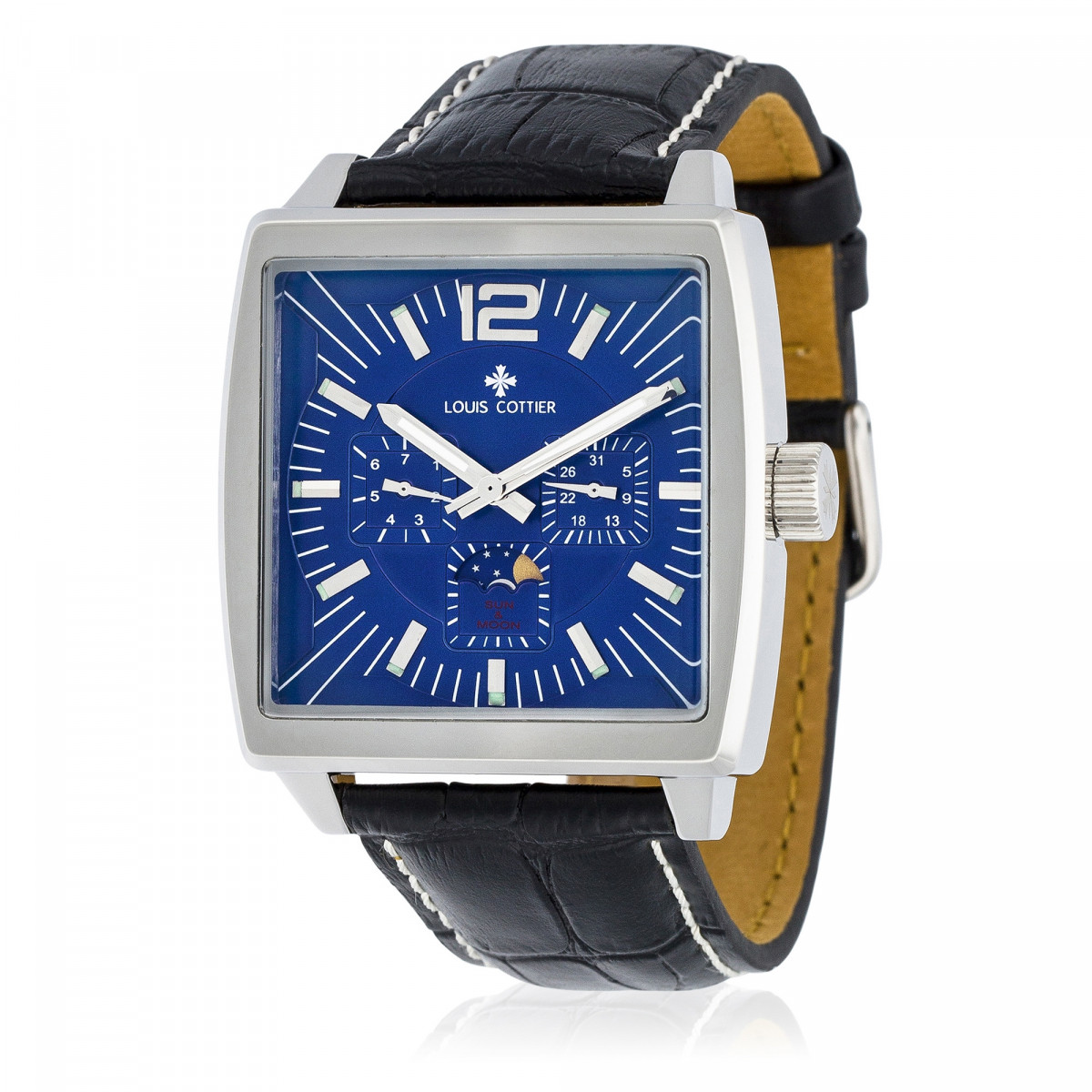 montre louis cottier panam bleu bracelet cuir hb3030c4bc1 mes. Black Bedroom Furniture Sets. Home Design Ideas