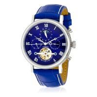 Louis Cottier - Montre Tradition Automatique Cadran Bleu - Boîtier Acier 42 mm - Bracelet cuir Bleu - Homme - HS3370C4BC3