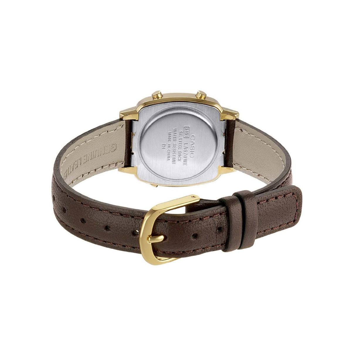 montre femme casio bracelet cuir marron la670wegl 9ef mes. Black Bedroom Furniture Sets. Home Design Ideas