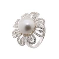 """Bague Perle de culture Blanche et argent """"Fleur de Perle"""""""