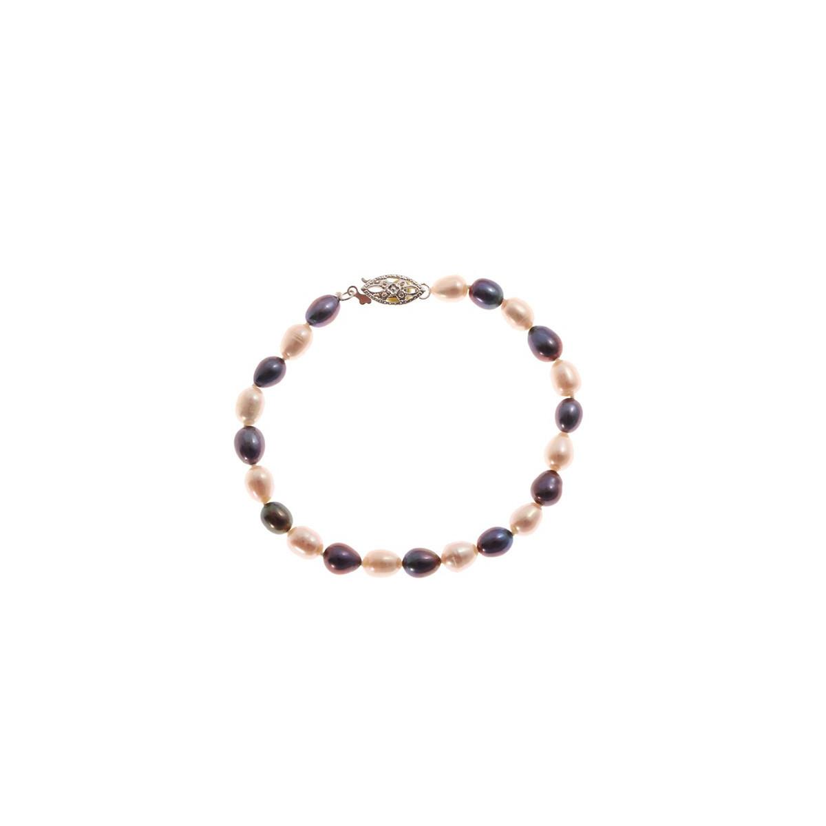 """Bracelet argent et perles de culture blanches et noires """" Serpentine Black&White"""""""