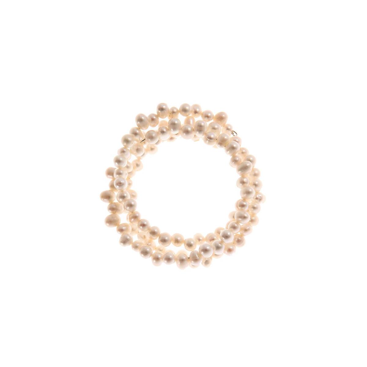 """Bracelet perles de culture blanches """"Enroulade de perles"""""""