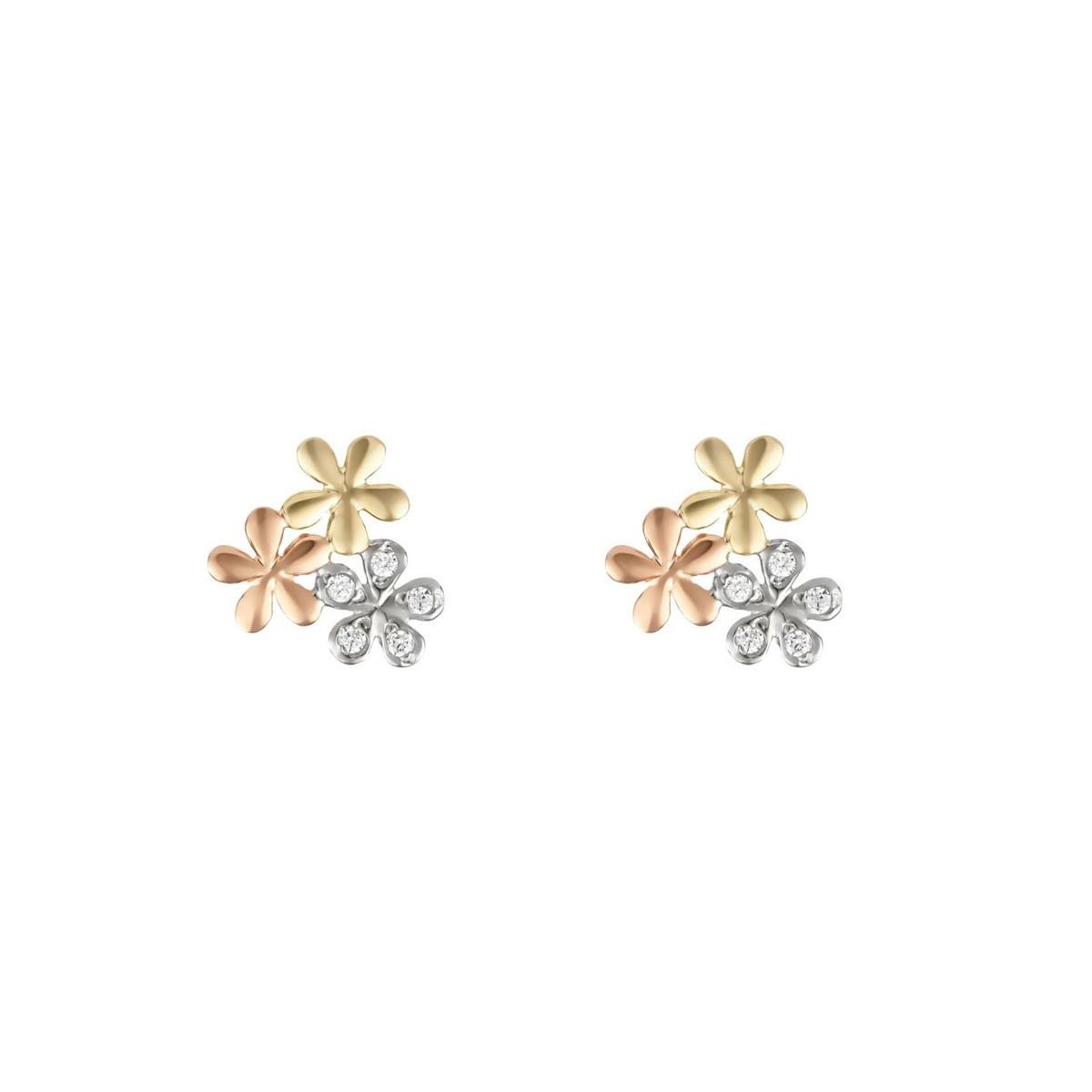 """Boucles d'oreilles or tricolore et oxydes de zirconium """"Minis Fleurs"""""""