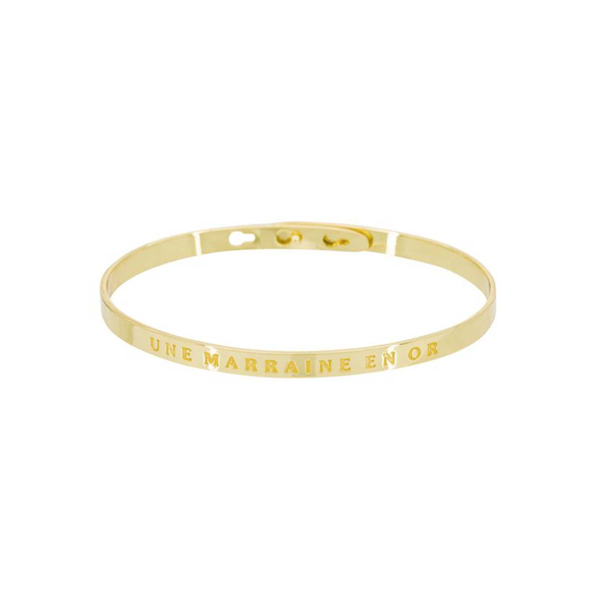 """""""UNE MARRAINE EN OR"""" Jonc doré bracelet à message"""