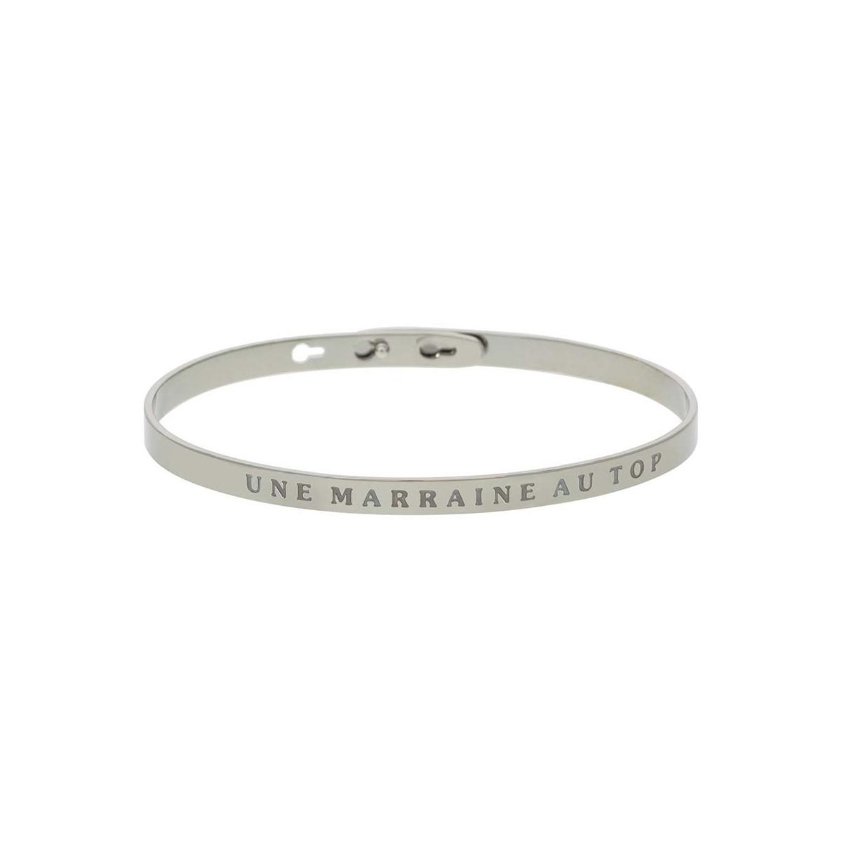 """""""UNE MARRAINE AU TOP"""" bracelet jonc argenté à message"""
