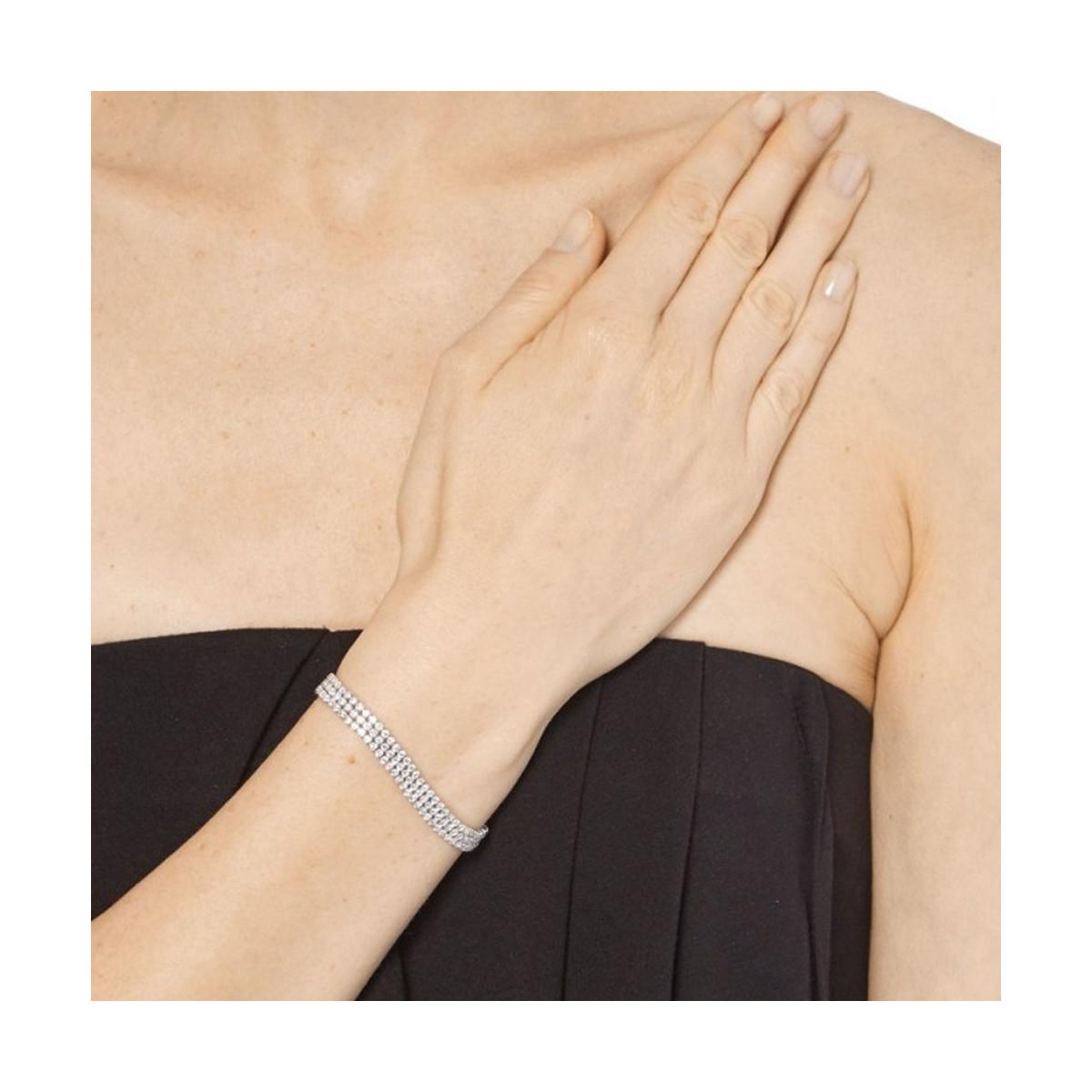 """Bracelet chaine argent et oxydes de zirconium """"Rivière Scintillante 3 Rangs"""""""