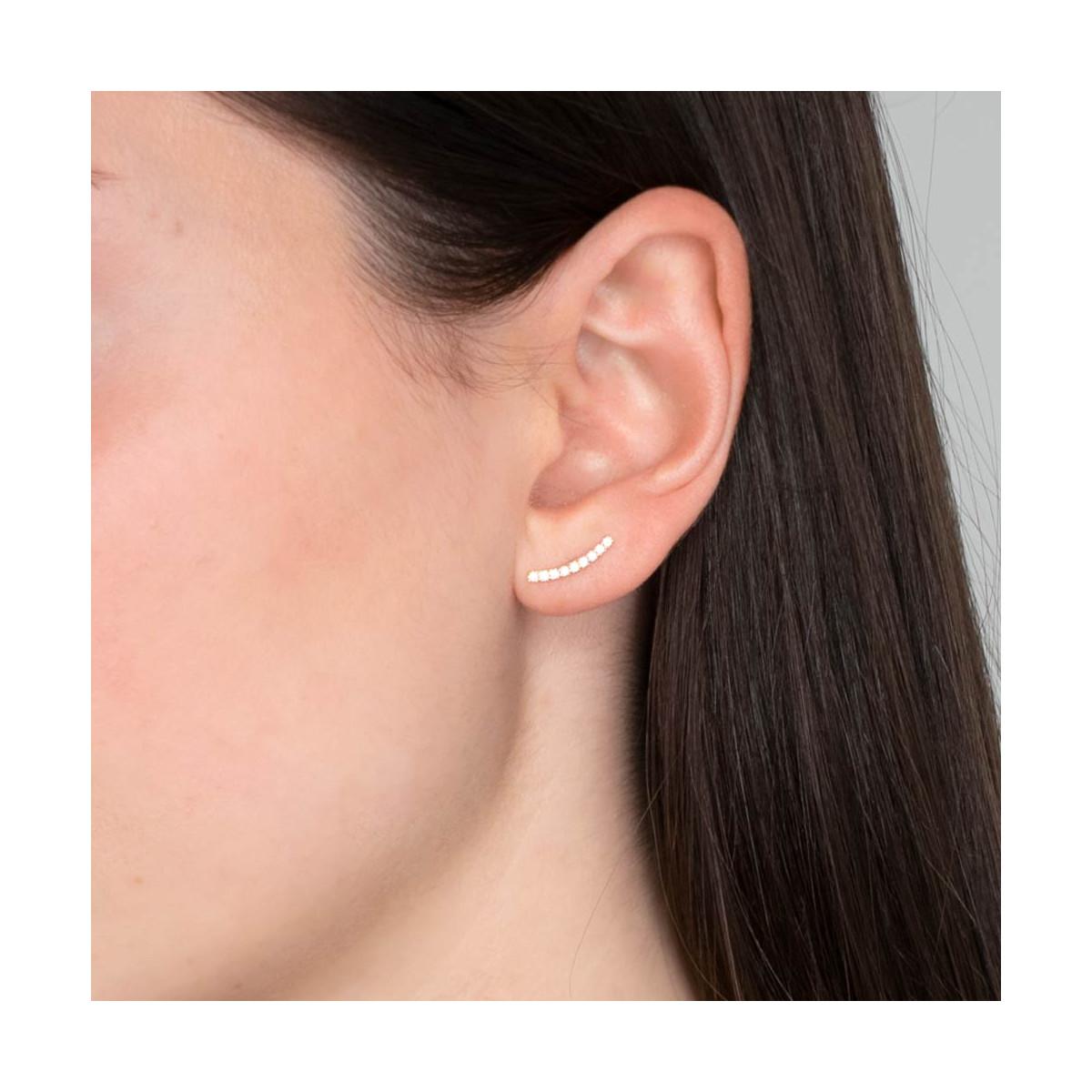 """Boucles d'oreilles grimpantes or jaune et oxydes de zirconium """"Merveille grimpante"""""""
