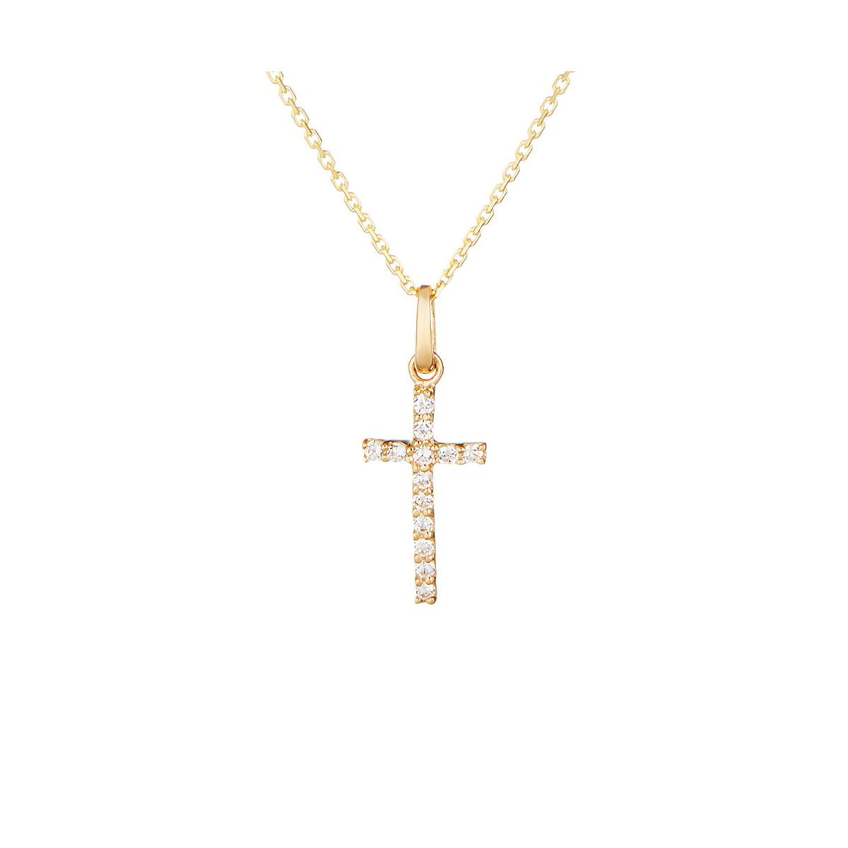 Pendentif croix Or Jaune 375/1000 et Zirconium
