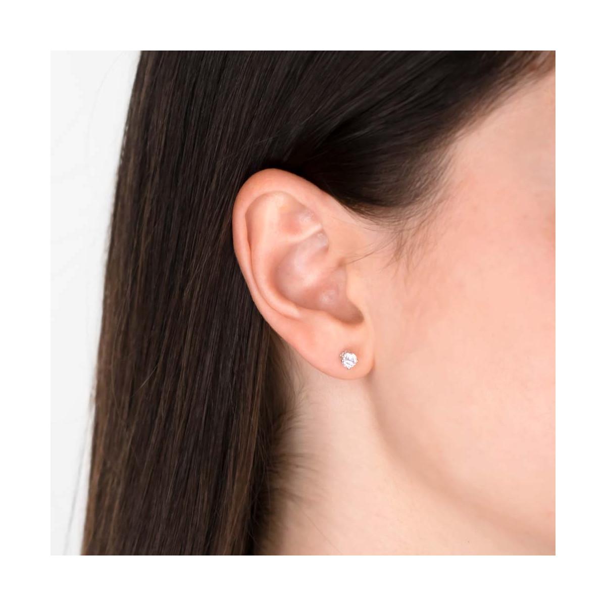 """Boucles d'oreilles or blanc et oxydes de zirconium """"Simply You"""""""