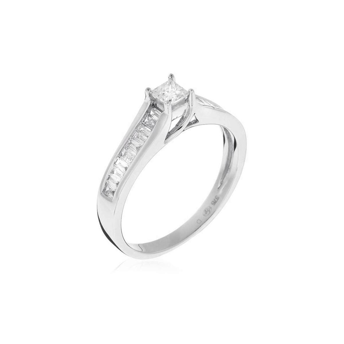 """Bague """"Solitaire Elegant"""" Diamants Or blanc et Diamants"""