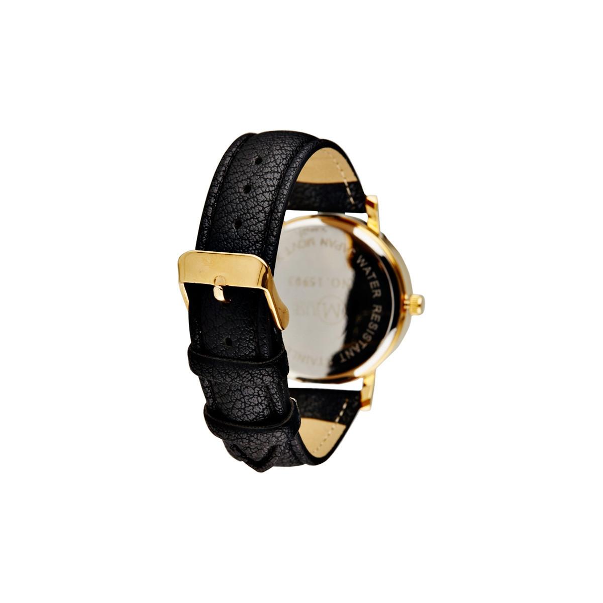 """Muse - Montre Femme doré, grand motif multicolore """"Manille"""" - bracelet noir"""