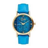 """Muse - Montre Femme doré """"Manille"""" - cadran bleu noir bracelet bleu"""