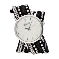 """Muse - Montre Femme argenté """"L'Opus"""" - bracelet noir strass gris"""