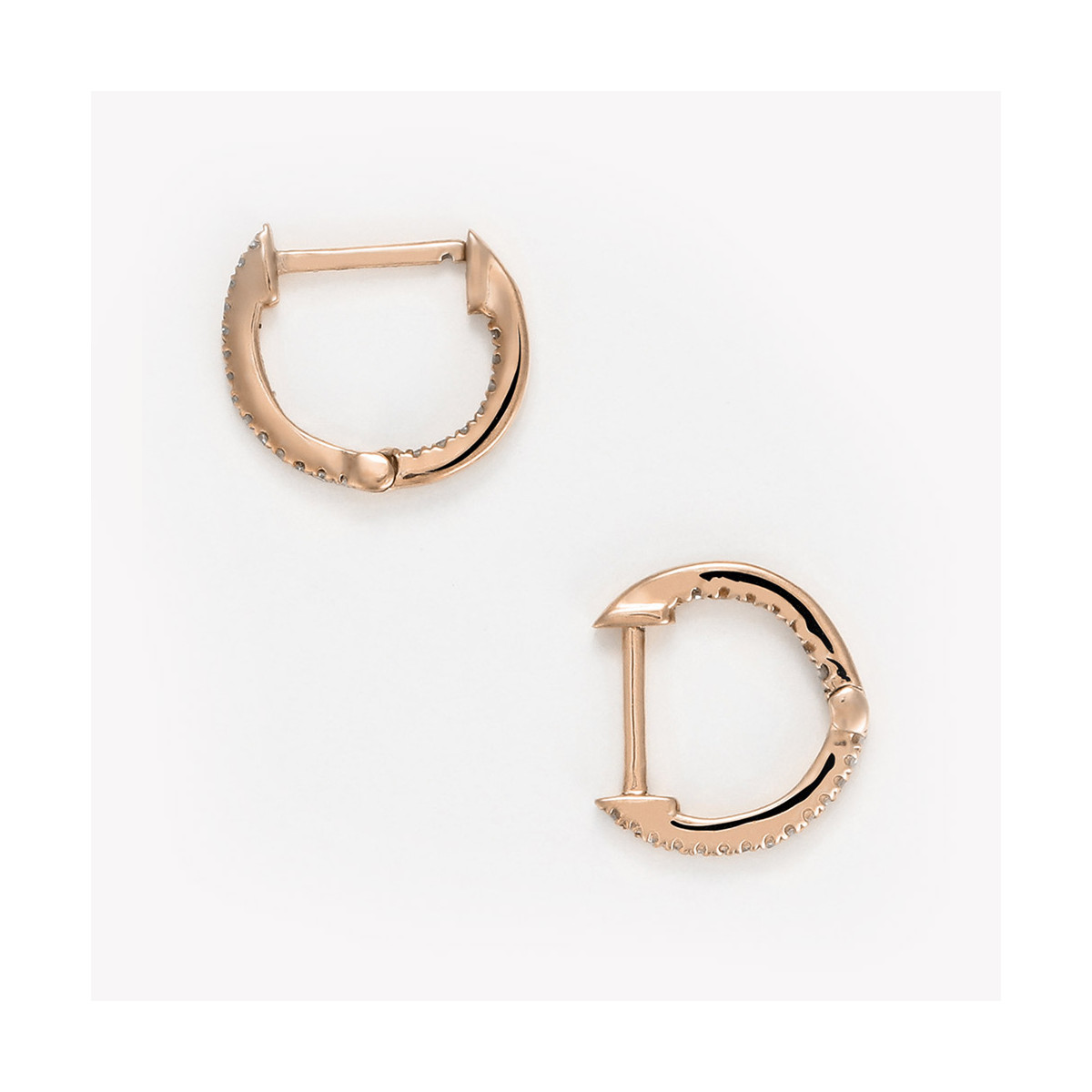 """Boucles d'oreilles Or Rose et Diamants 0,08 carat """"PERFECARAT CRÉOLES"""""""