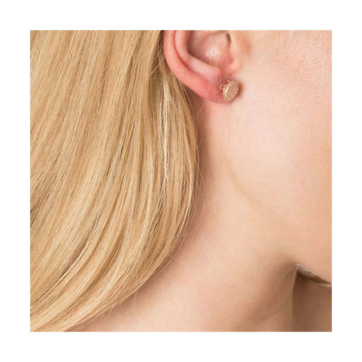 """Boucles d'oreilles vermeil rose et oxydes de zirconium """"Puces en folie"""""""
