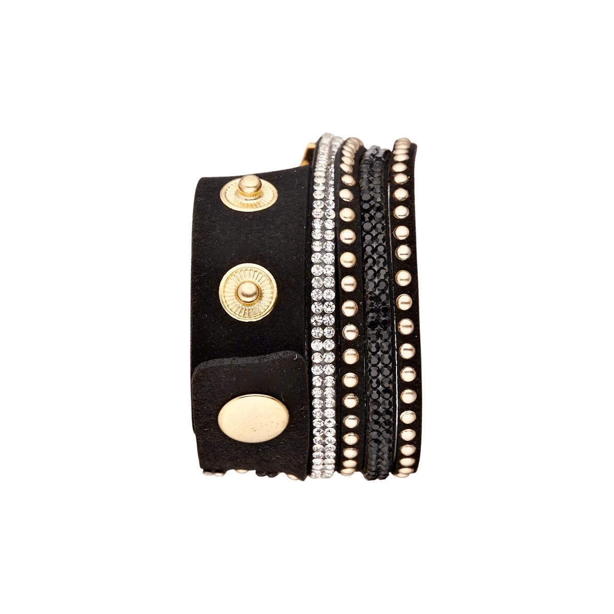 """Muse - Montre Femme doré """"L'Opus"""" - bracelet noir"""