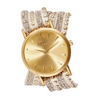 """Muse - Montre Femme doré """"L'Opus"""" - bracelet beige"""