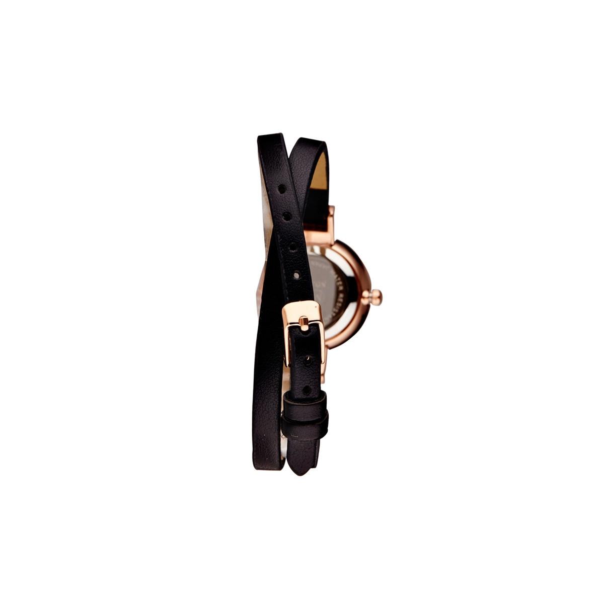 """Muse - Montre Femme """"Elysée"""" - boîtier rosé bracelet noir"""