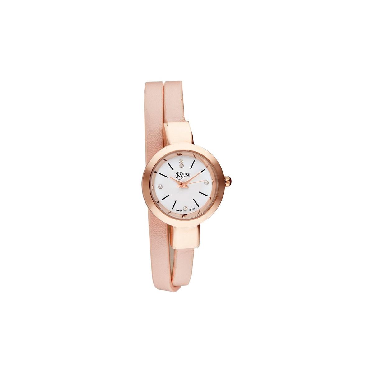 """Muse - Montre Femme """"Elysée"""" - boîtier rosé bracelet rose"""