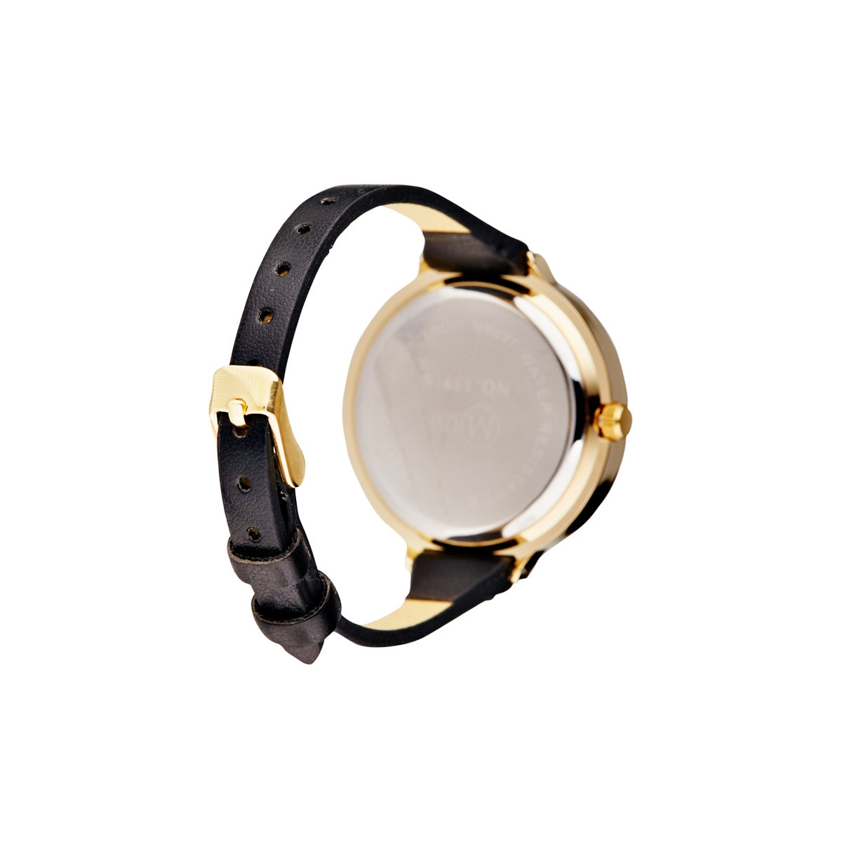 """Muse - Montre Femme doré """"La facette"""" - bracelet cuir noir"""