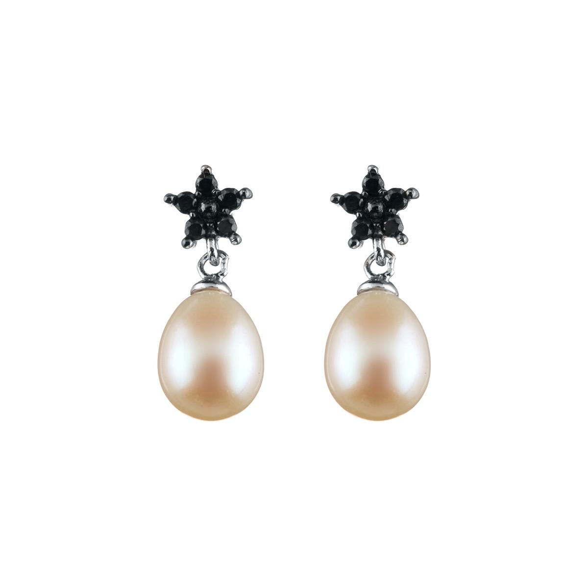 """Boucles d'oreilles argent et perles de cultures blanches et oxydes de zirconium """"Petite Fleur de Perle"""""""