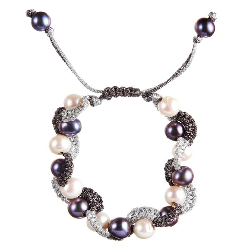 bracelet perles de culture noires et blanches shamballa croco bleu et blanc. Black Bedroom Furniture Sets. Home Design Ideas
