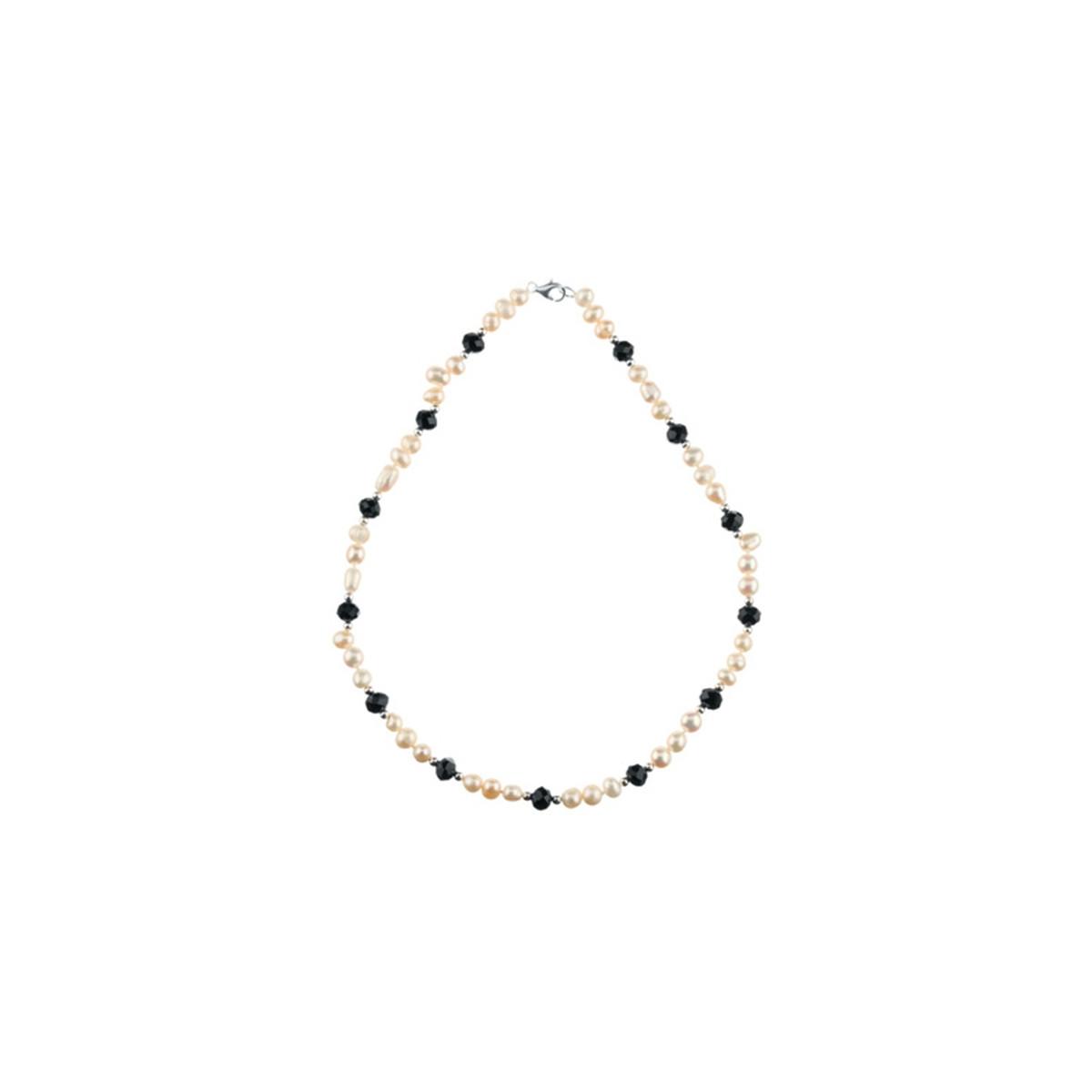 """Collier argent et perles de culture Blanches et Noires """"Elégant"""""""