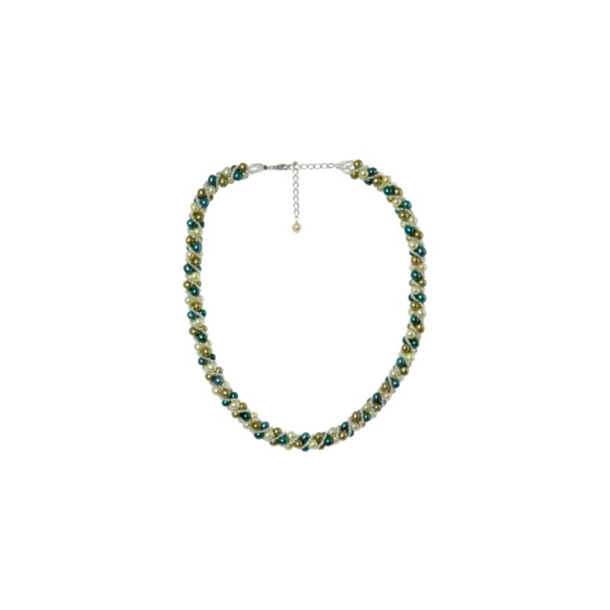 """Collier argent et perles de culture Vertes """"Attraction"""""""