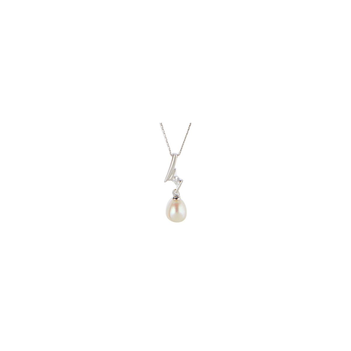 """Pendentif argent, oxyde de zirconium et perle de culture Blanche """"Perle éclatante"""" + chaîne argent offerte"""