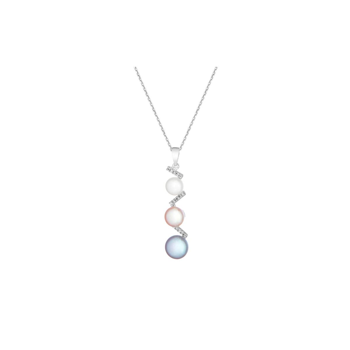 """Pendentif argent, oxydes de zirconium et perles de culture Multicolores """"Tres Perlas"""" + chaîne argent offerte"""