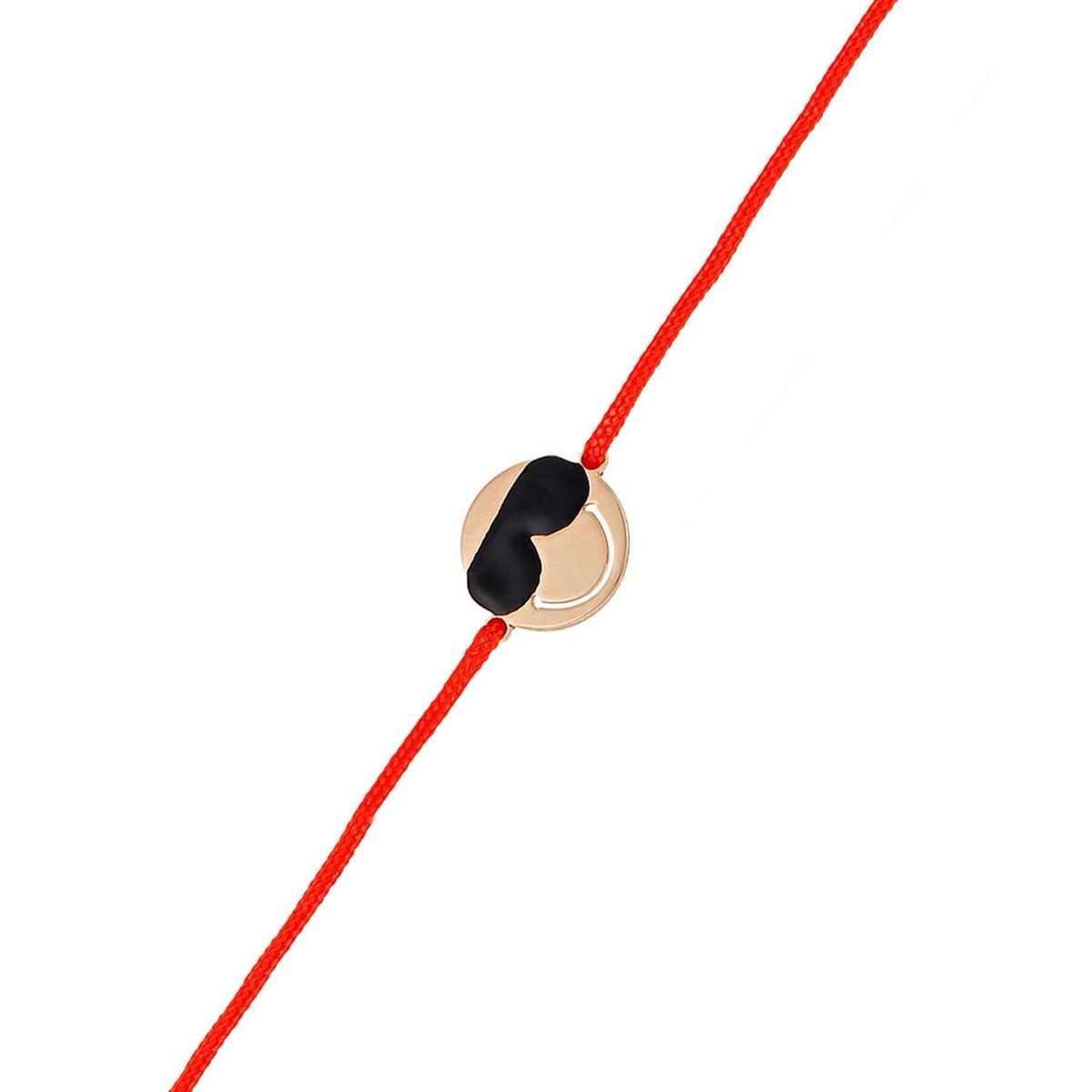 """Bracelet cordon Smiley vermeil rose et cordon rouge """"Cool"""""""