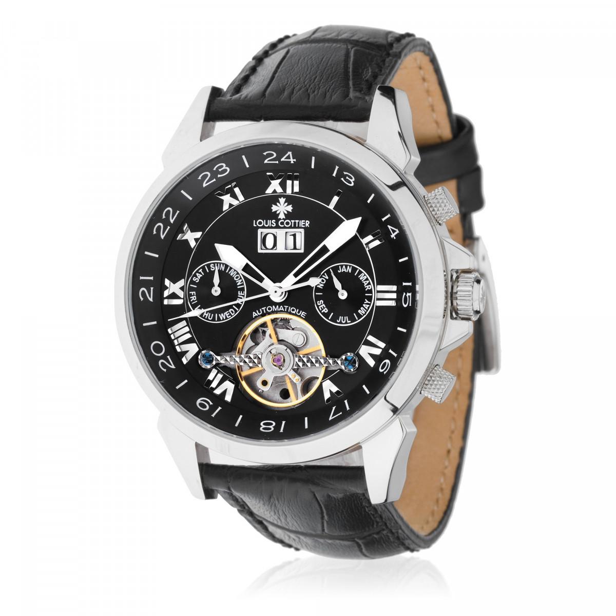 montre automatique homme bracelet cuir noir