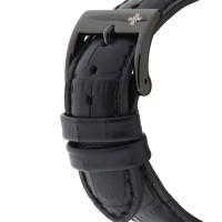 Louis Cottier - Montre Skeleton Automatique Cadran Noir - Boîtier Acier PVD Noir 42 mm - Bracelet Cuir Noir - Homme