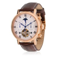 Louis Cottier - Montre Tradition Automatique Cadran Blanc - Boîtier PVD Or Rose 42 mm - Bracelet Cuir Marron - Homme