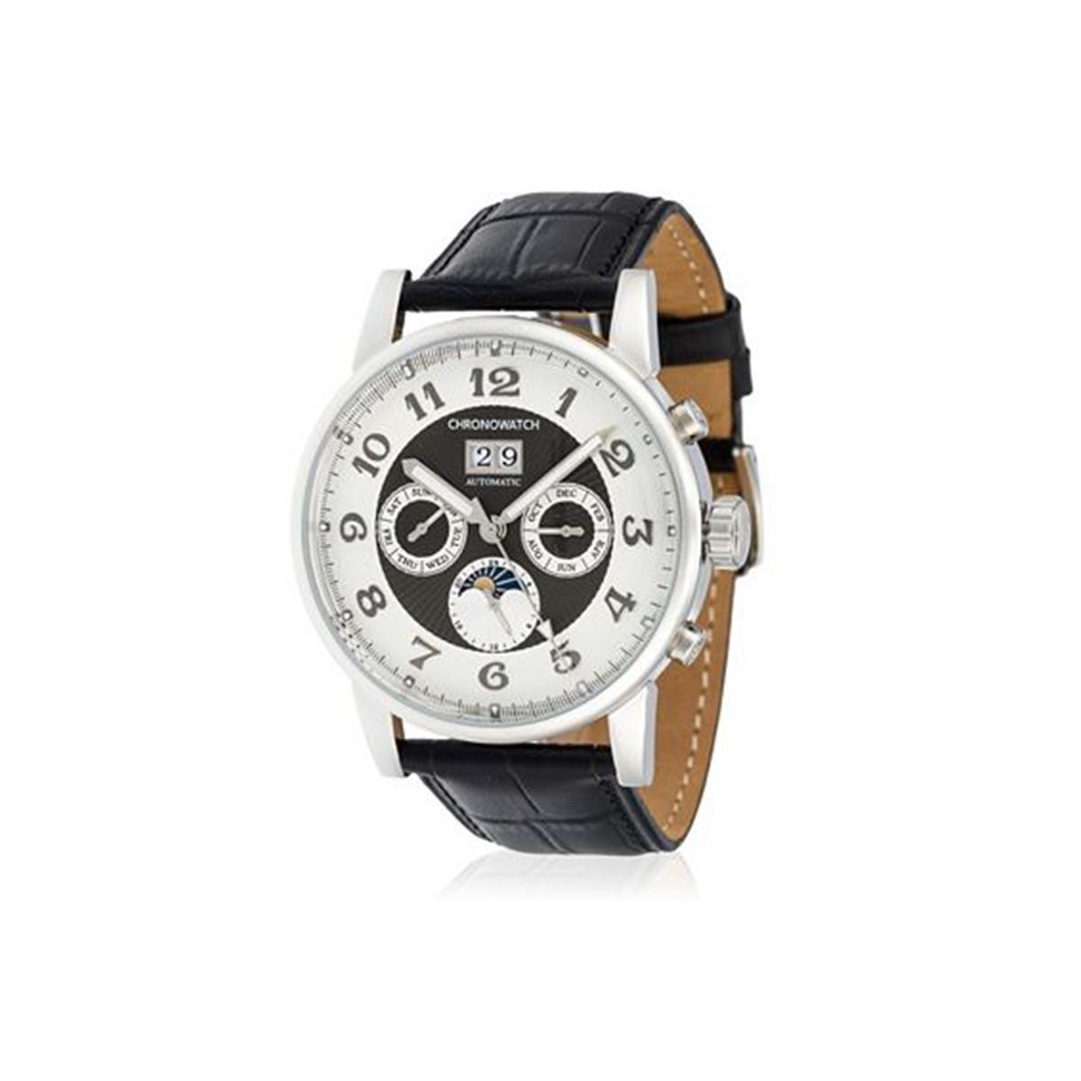 """Montre Chronowatch """"Prestige"""" Automatique Blanc Bracelet Cuir - HA5340C2BCj1"""