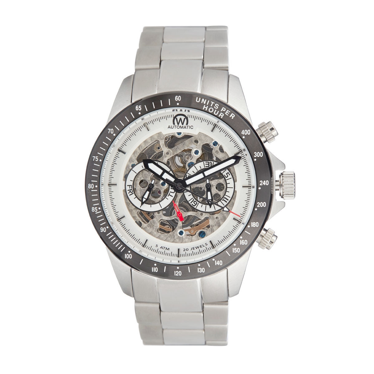 "Montre Chronowatch ""Weapon"" Automatique Blanc Bracelet Métal - HB5150C2BM1"