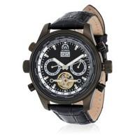 """Montre Chronowatch """"L'Heckler"""" Automatique  Noir Bracelet Cuir - HF5251C1BC1"""