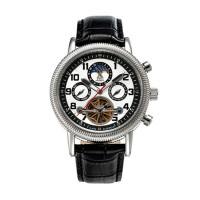 """Montre Chronowatch """"Baretta"""" Automatique  Blanc Bracelet Cuir - HF5270C3BC1"""