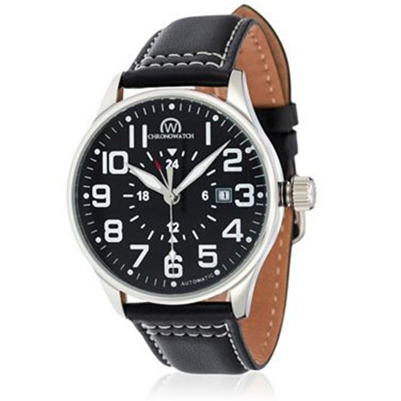 montre chronowatch aviateur noir bracelet cuir hf5380c1bc1. Black Bedroom Furniture Sets. Home Design Ideas