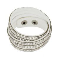 """Bracelet tissu blanc orné de cristaux blancs """"Double tour"""""""