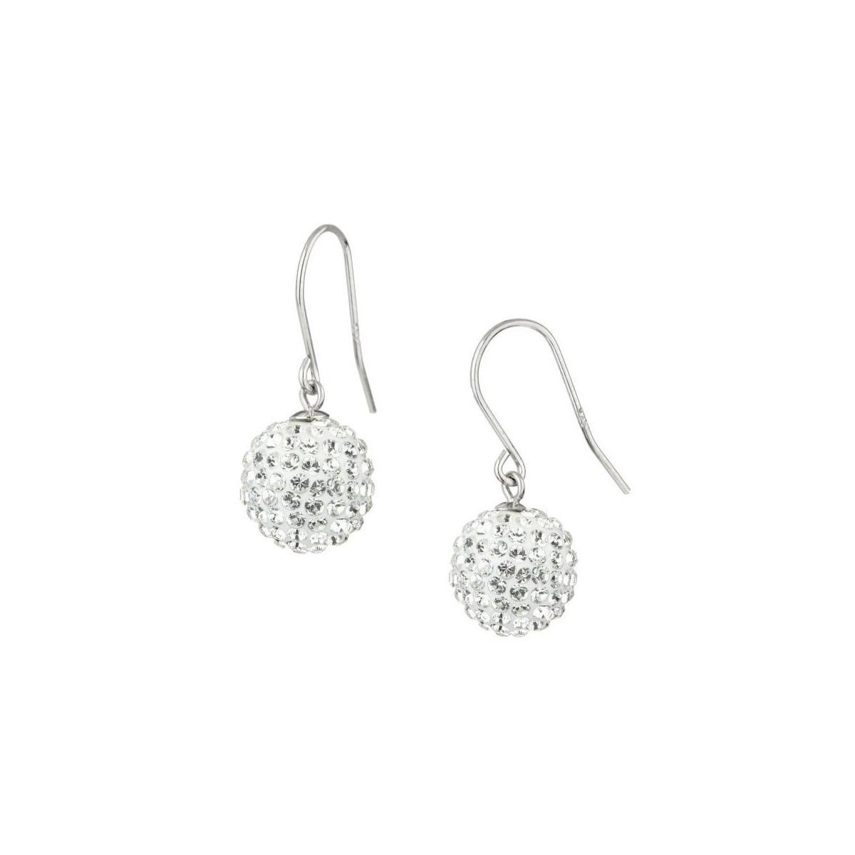Boucles d'oreilles Bubble Dormeuses Blanches Argent 925 Ornée de Cristaux Swarovski Elements Blanc
