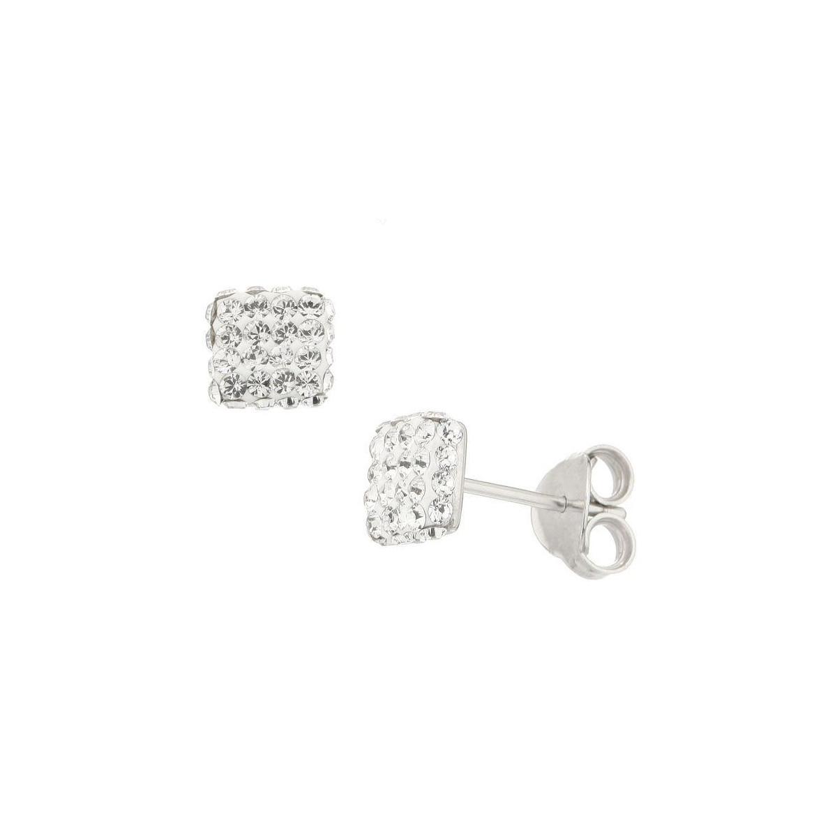 Boucles d'oreilles Puces Carrées Métal Argenté Ornée de Cristaux Swarovski Elements Blanc