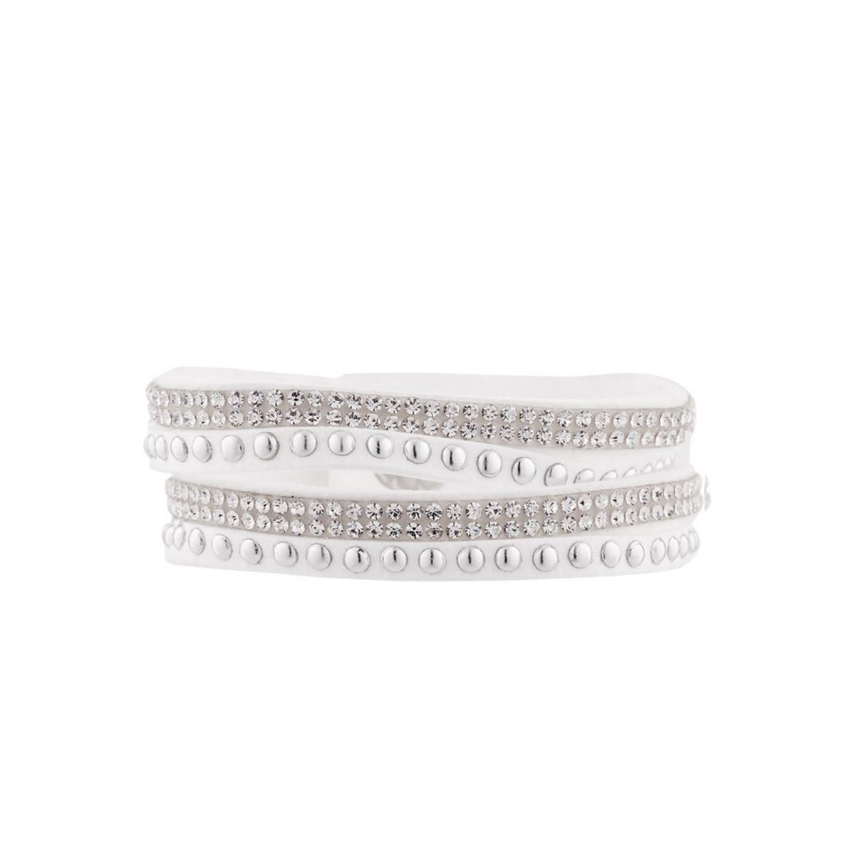 Bracelet Un Tour Tissu Orné de Cristaux Swarovski Elements Blanc