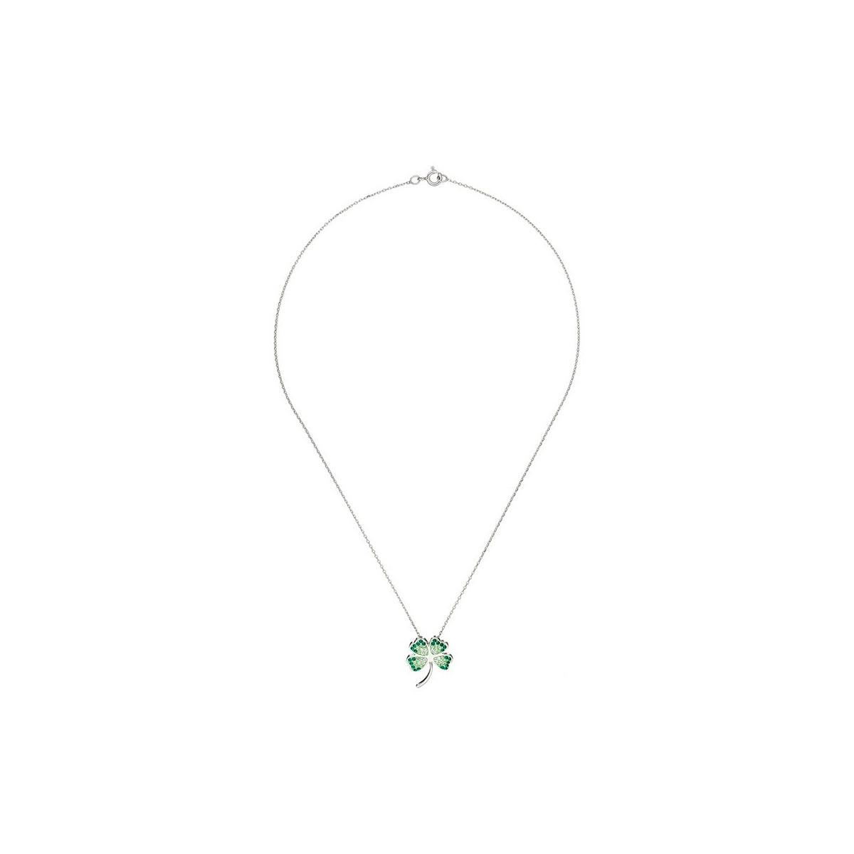 """Pendentif Argent orné de cristaux Vert """"Bonheur"""" + chaîne argent offerte"""