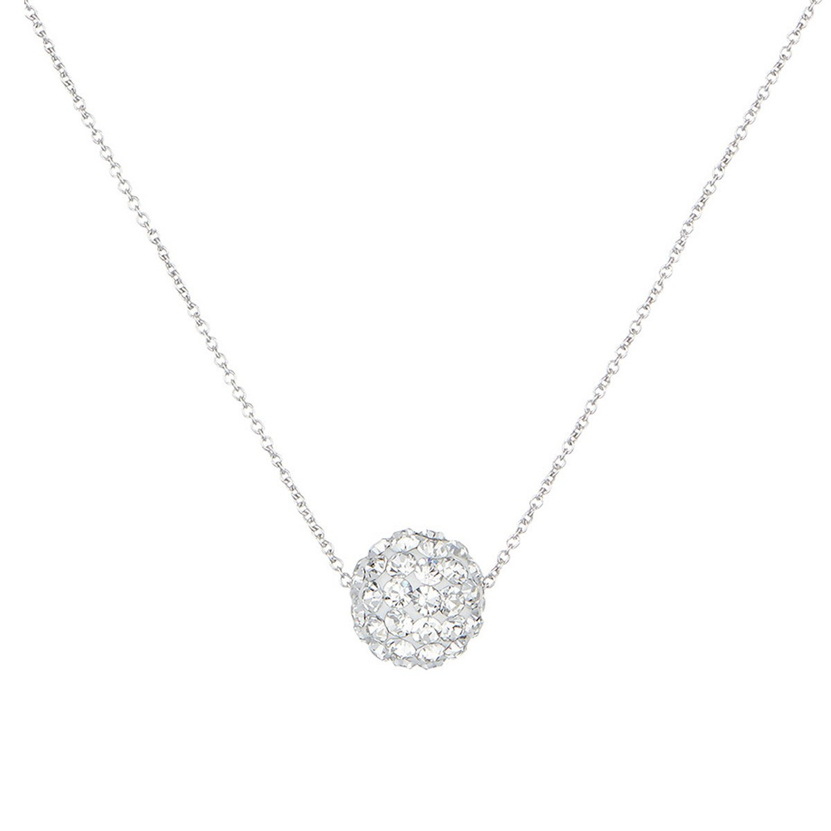 Collier femme bulle de crystal Or Blanc 375 et zirconium