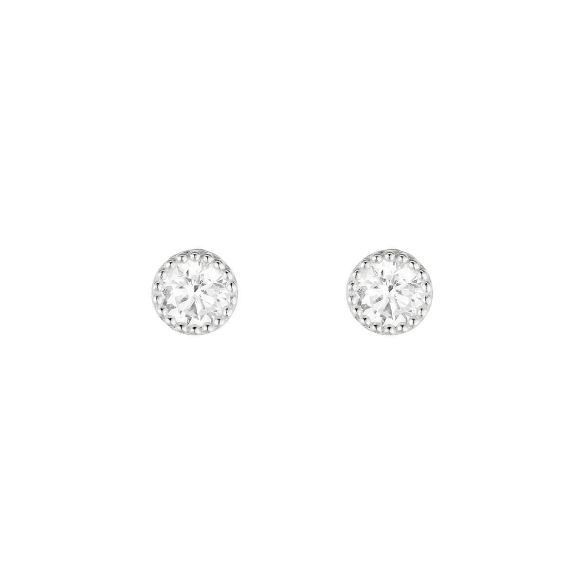 Boucles d'oreilles femme grands ronds Or Blanc 375 et zirconium