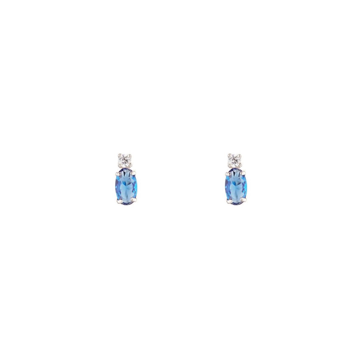 Boucles d'oreilles femme puce Or Blanc 375 et Saphir