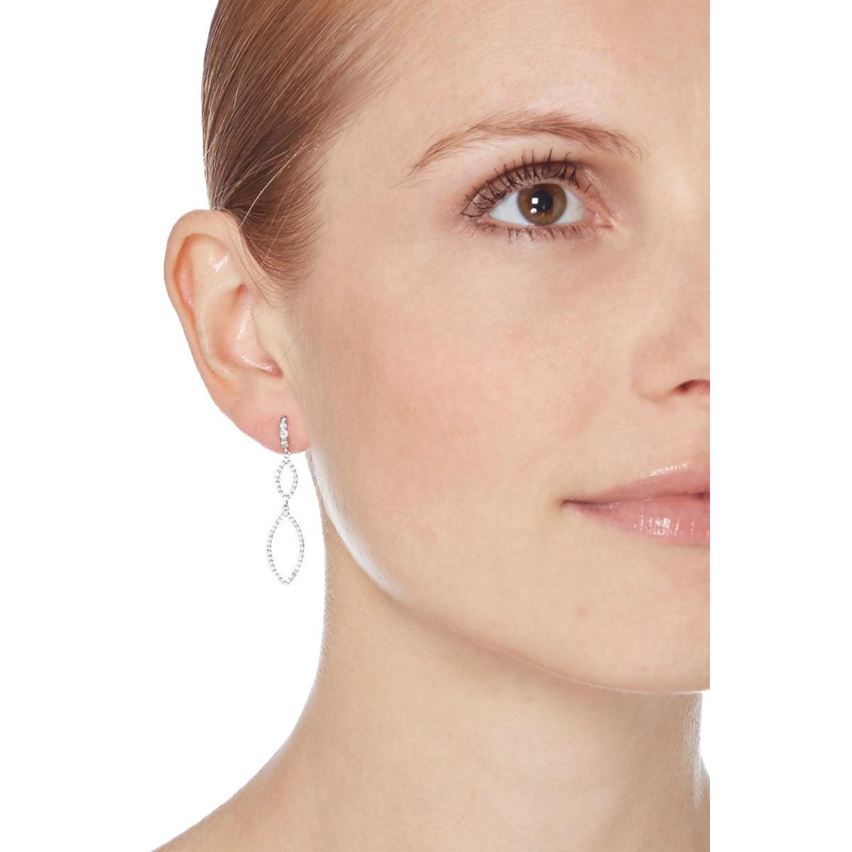 """Boucles d'oreilles or blanc et oxydes de zirconium """"Enlacées"""""""